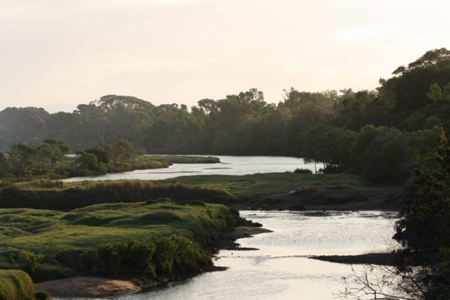 View of Ross River meanders at dusk