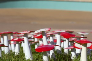 Red and white ceramic mushrooms