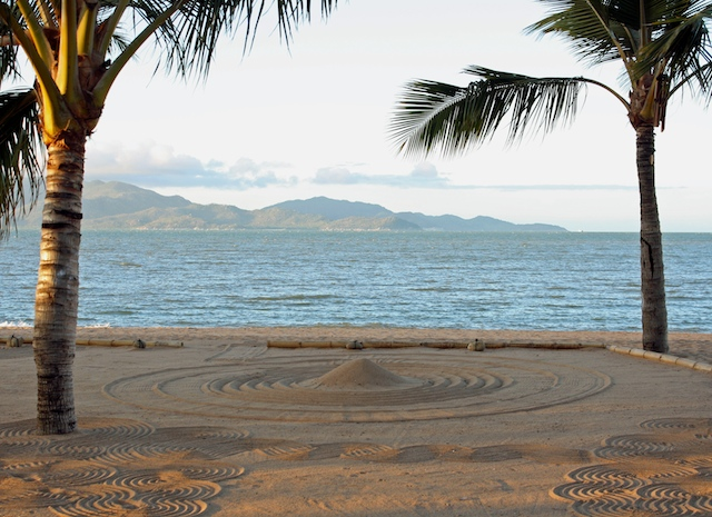 Raked sand and Magnetic Island