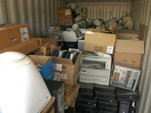 old computer gear in container