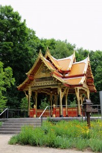 The new Thai sala or pavilion in the parklands