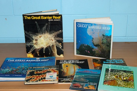 Reef books displayed
