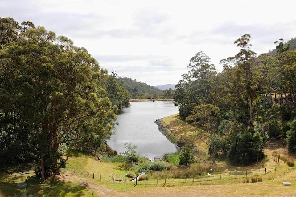 Waterworks reserve, looking over the lower dam towards Hobart