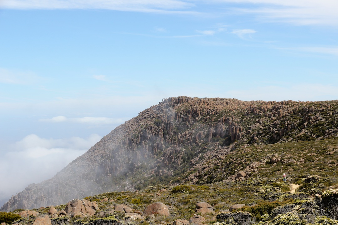 Cloud drifting up the gully which is the top end of the Zig-zag track