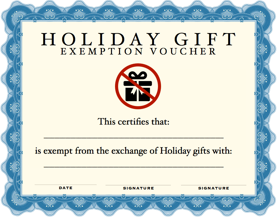 gift exemption certificate