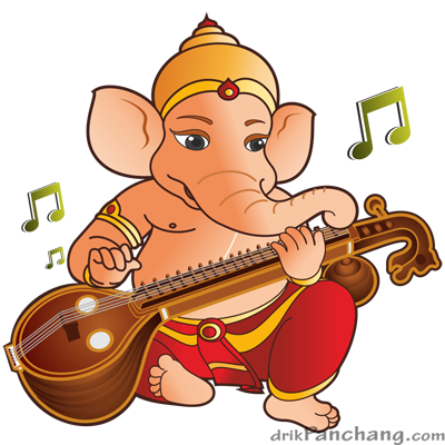 baby Ganesha playing the veena