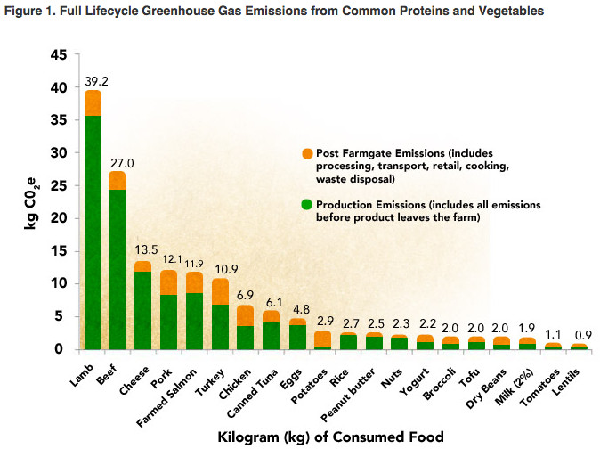 carbon footprint of meats and other protein