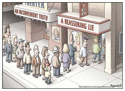 "Cartoon: people queuing for ""A Reassuring Lie"" and bypassing ""An Inconvenient Truth"""