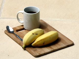 Ripe sugar bananas on a tray
