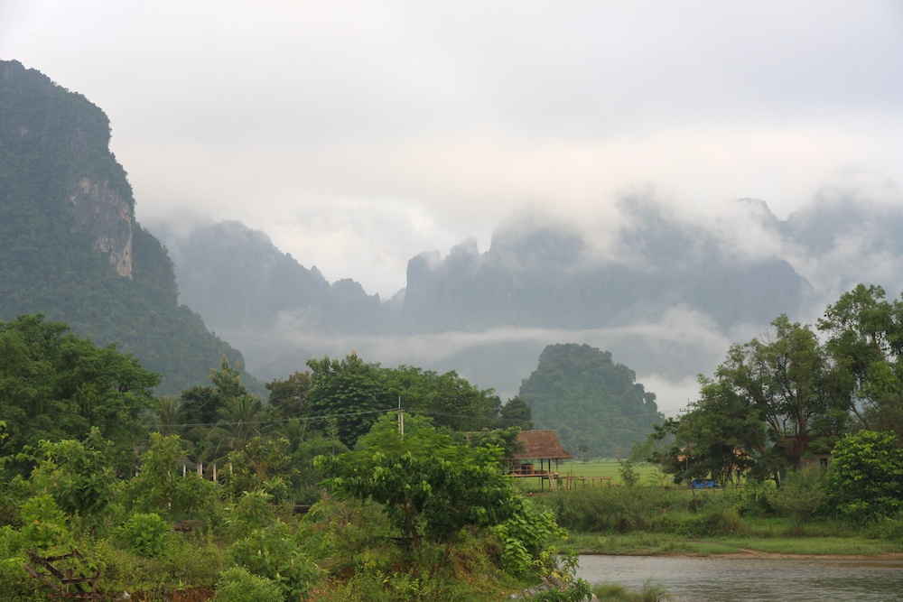 misty mountainous landscape