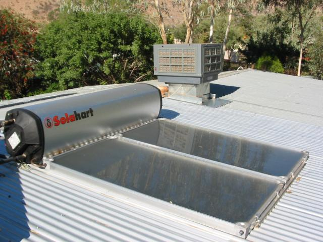 tank and panels on colourbond roof