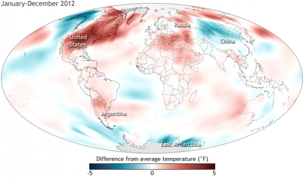 Global Surface Temperature Anomaly - how far above (red-brown) or below (blue) average temperatures we were in 2012