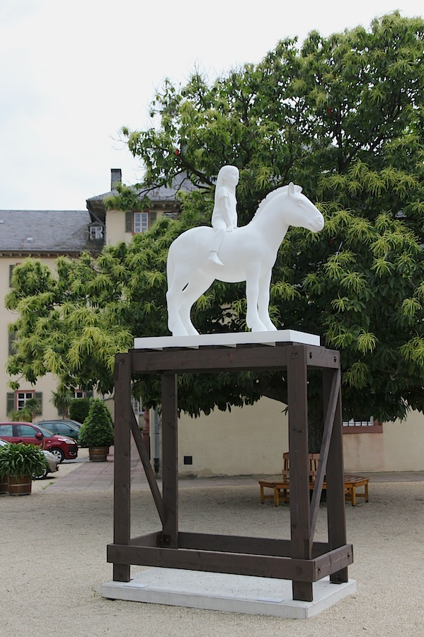 """Kenny Hunter: """"Horse and Rider"""", 2013, in the Schloss courtyard. It's hard not to see this as an ironic comment on the pomposity of the older equestrian statues infesting the town and, indeed, Europe."""