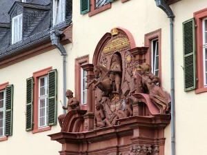 Baroque excess: detail of the gateway to the courtyard of the Schloss