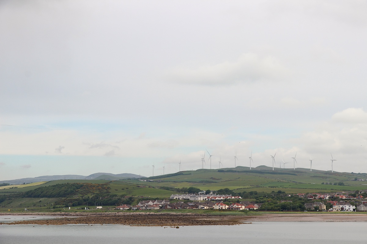 Wind power in Scotland: a view of Ardrossan from the Arran ferry