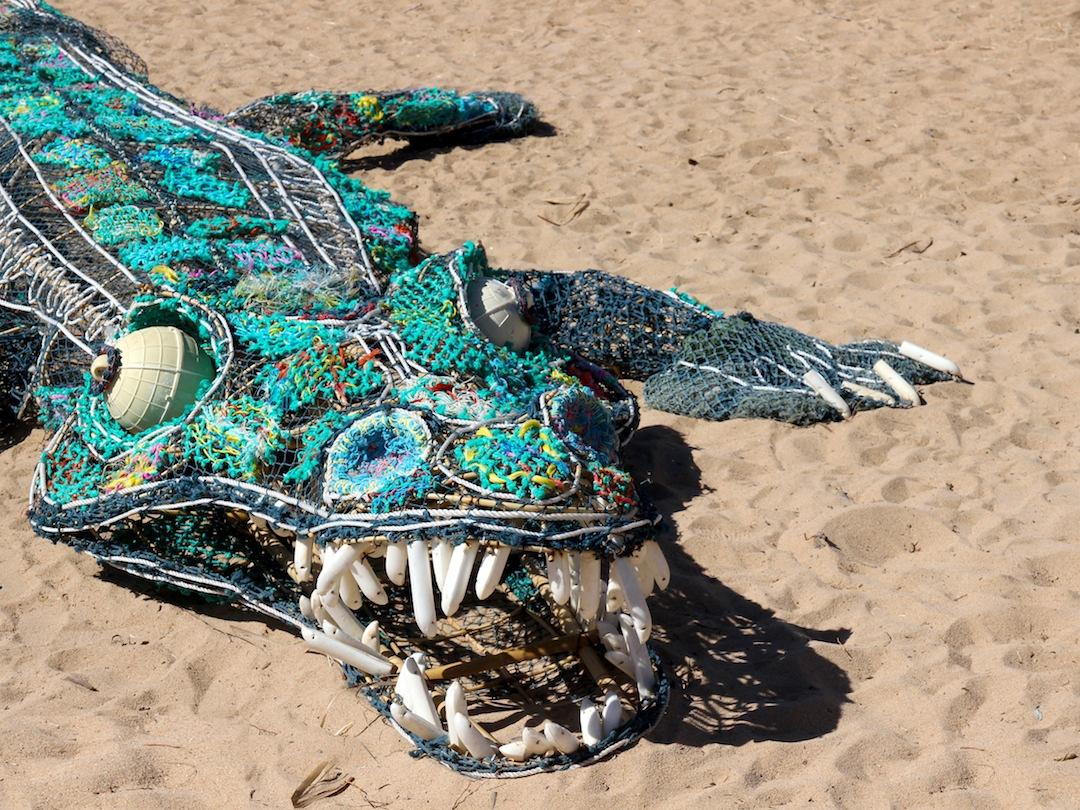 croc sculpture close-up