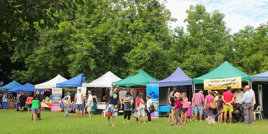 stalls and crowds at Eco fiesta Townsville 2014