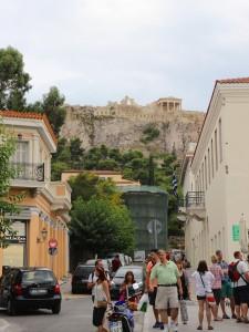 The Acropolis Hill rising above Monastiraki