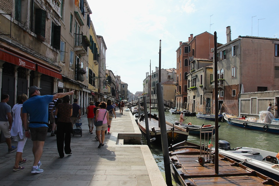 Walking alongside one of the smaller canals