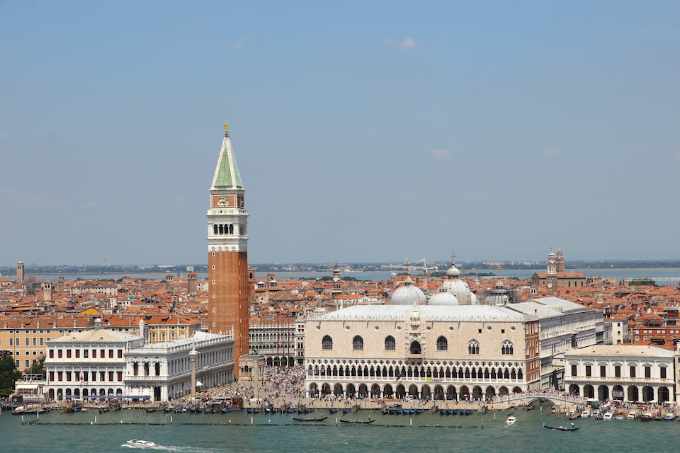 Venice, with the bell tower, Piazza san Marco and the Doges' Palace in the foregound