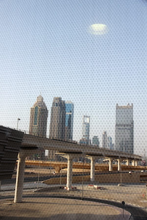A view from the walkway: concrete, steel, glass and not much else