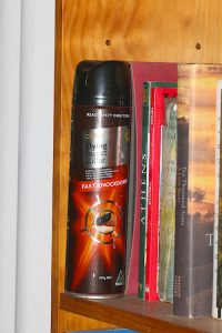 bookshelf and spray can
