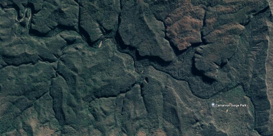 satellite view of carnarvon gorge